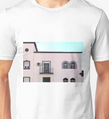 Typical white house with mosaic blue decorations from Malaga, Spain Unisex T-Shirt
