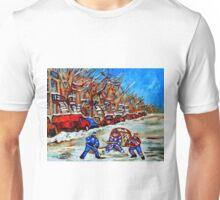 STREET HOCKEY ART CANADIAN PAINTINGS BY CANADIAN ARTIST CAROLE SPANDAU Unisex T-Shirt