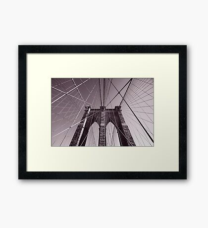 Brooklyn bridge - travel, city, architecture, new york, construction, metropolitan, downtown, pink Framed Print