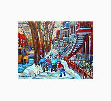 BEAUTIFUL CANADIAN WINTER STREET SCENES HOCKEY NEAR WINDING STAIRCASES CAROLE SPANDAU Unisex T-Shirt
