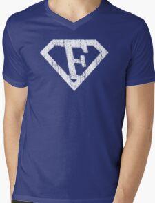 F letter in Superman style Mens V-Neck T-Shirt