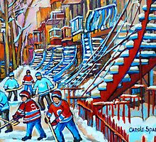 CANADIAN WINTER SCENES MONTREAL WINDING STAIRCASE WITH STREET HOCKEY BY CANADIAN ARTIST CAROLE SPANDAU by Carole  Spandau