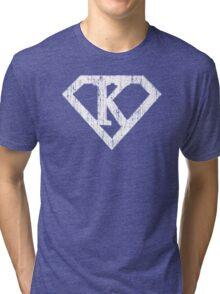 K letter in Superman style Tri-blend T-Shirt
