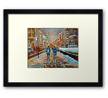 CANADIAN CITYSCAPE PAINTING WALKING TO MCGILL UNIVERSITY BY CANADIAN ARTIST CAROLE SPANDAU Framed Print