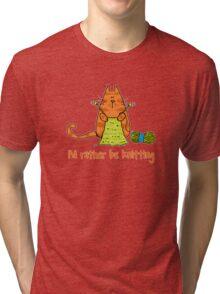 I'd rather be knitting..... Tri-blend T-Shirt