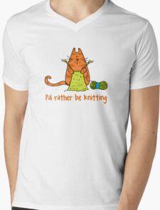 I'd rather be knitting..... Mens V-Neck T-Shirt