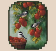Bird Painting - Apple Harvest Chickadees T-Shirt