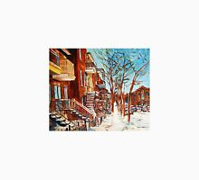 MONTREAL ART WINDING STAIRCASES CANADIAN WINTER SCENES BY CANADIAN ARTIST CAROLE SPANDAU T-Shirt