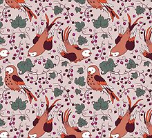 Vintage Style Bird Berries Pattern.  by Kimazo