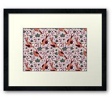 Vintage Style Bird Berries Pattern.  Framed Print