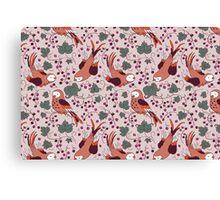 Vintage Style Bird Berries Pattern.  Canvas Print