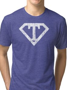 T letter in Superman style Tri-blend T-Shirt