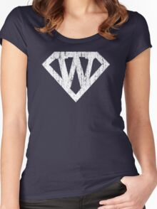W letter in Superman style Women's Fitted Scoop T-Shirt