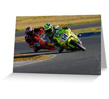 Hot on His Heels - Superbikes Greeting Card