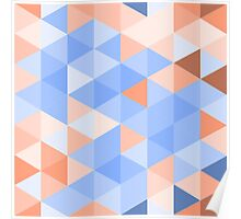 Blue-brown triangles pattern Poster