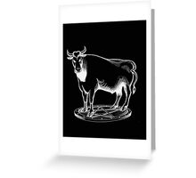Black and white bull graphic design Greeting Card