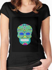 Sugar skull mexican folk art Women's Fitted Scoop T-Shirt