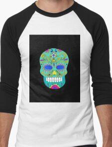Sugar skull mexican folk art Men's Baseball ¾ T-Shirt