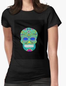 Sugar skull mexican folk art Womens Fitted T-Shirt