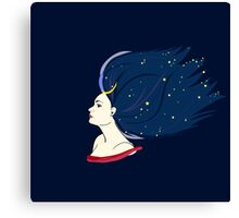 Blue-haired girl-night Canvas Print