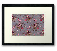 Bird Butterfly Floral Pattern. Framed Print
