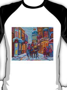 OLD MONTREAL WINTER CITY SCENES CANADIAN ARTIST CAROLE SPANDAU T-Shirt