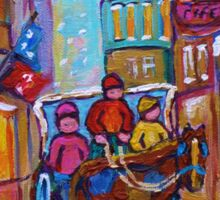 OLD MONTREAL WINTER CITY SCENES CANADIAN ARTIST CAROLE SPANDAU Sticker