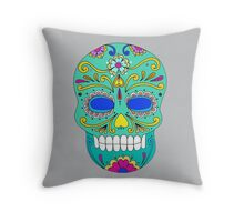 Sugar skull mexican folk art Throw Pillow