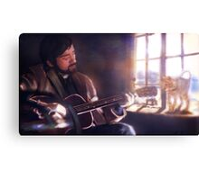 Folk Singer with a Cat Canvas Print