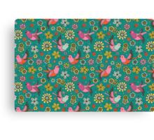 Doodle Birds Floral Pattern Canvas Print