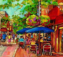 PAINTINGS OF OUTDOOR CAFES CANADIAN ART MONTREAL BY CANADIAN ARTIST CAROLE SPANDAU by Carole  Spandau