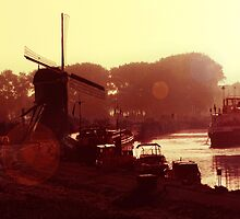 Windmill, barge & canal. by nitrams