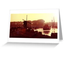 Windmill, barge & canal. Greeting Card