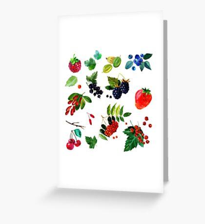 Watercolor set of berries Greeting Card