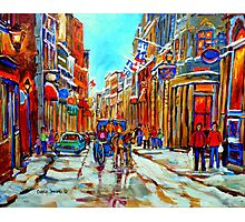 CANADIAN ARTIST PAINTS CANADIAN WINTER CITY SCENE OLD MONTREAL BY CAROLE SPANDAU Photographic Print