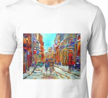 CANADIAN ARTIST PAINTS CANADIAN WINTER CITY SCENE OLD MONTREAL BY CAROLE SPANDAU Unisex T-Shirt