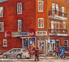 STREET HOCKEY PAINTINGS NEAR DEPANNEUR CANADIAN ART BY CANADIAN ARTIST CAROLE SPANDAU by Carole  Spandau