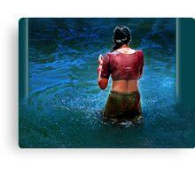 *TAKING BATH* Canvas Print
