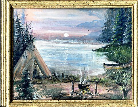 painting done in acrylic depicting an indian campfire by francelle  huffman