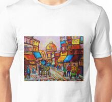 VIEUX MONTREAL OLD PAINTINGS CANADIAN SCENES BY CANADIAN ARTIST CAROLE SPANDAU Unisex T-Shirt