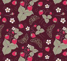 Vintage Berries Leaves Fruit Moth butterfly Wallpaper. by Kimazo