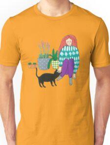 Gardening with a cat helper Unisex T-Shirt