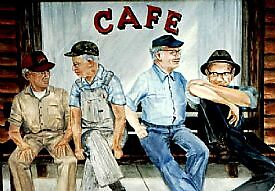 old men chatting on bench print by francelle  huffman