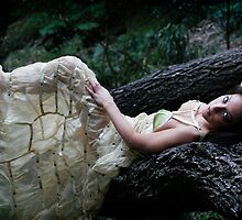 Girl in Campari Dress on Fallen Tree by Ming  Nomchong