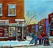 PAINTINGS OF QUEBEC DEPANNEURS WINTER SCENES BY CANADIAN ARTIST CAROLE SPANDAU by Carole  Spandau