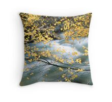 Water through leaves Throw Pillow