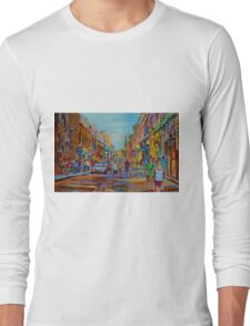 PAINTINGS OF THE OLD CITY OF MONTREAL CANADIAN URBAN SCENES BY CANADIAN ARTIST CAROLE SPANDAU Long Sleeve T-Shirt