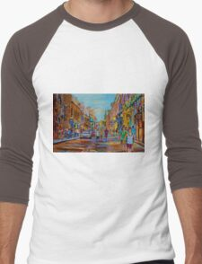 PAINTINGS OF THE OLD CITY OF MONTREAL CANADIAN URBAN SCENES BY CANADIAN ARTIST CAROLE SPANDAU Men's Baseball ¾ T-Shirt