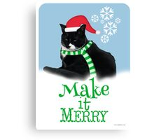 Funny Holiday Tuxedo Cat Canvas Print