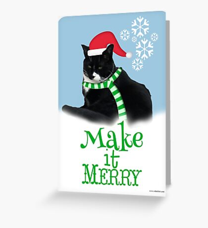 Funny Holiday Tuxedo Cat Greeting Card